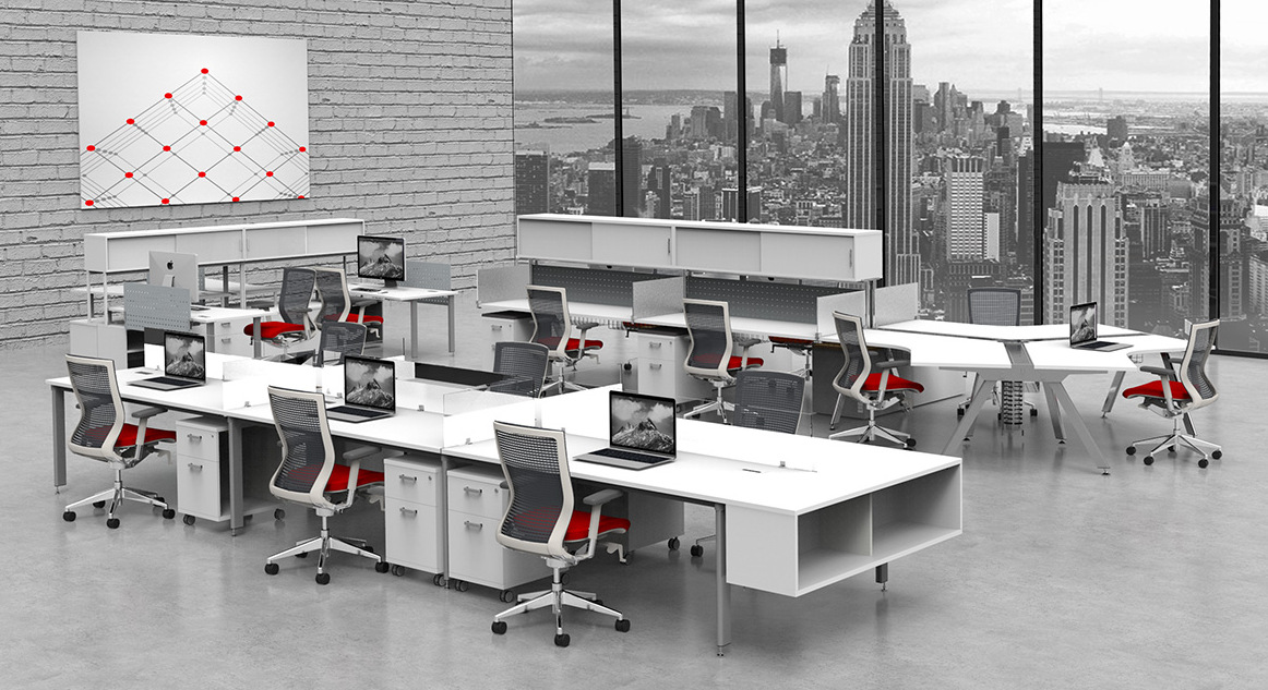 Image shows idesk idesk with Oroblanco with ergonomic chairs.