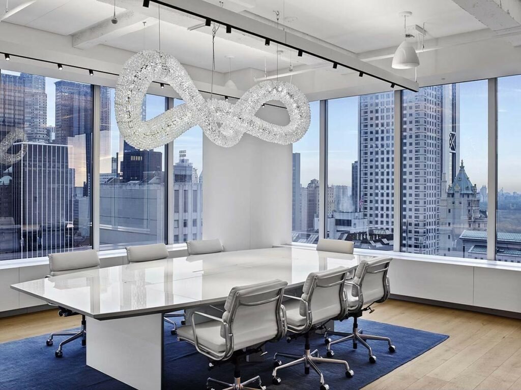 Meeting space with large windows