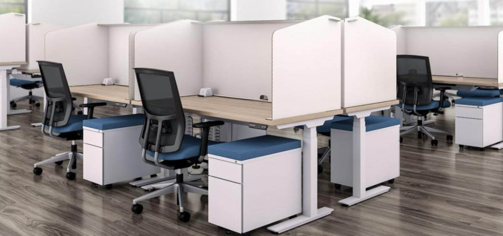 Work stations with high dividers.